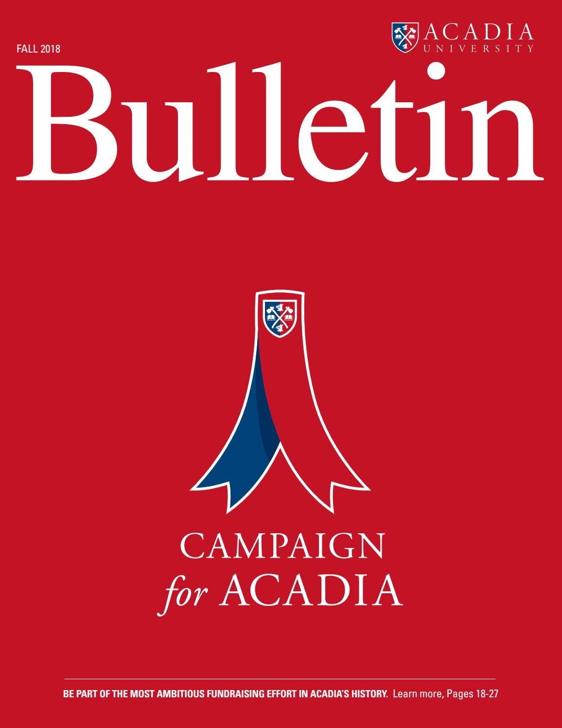 Acadia Bulletin - Fall 2018 by Acadia Advancement - issuu