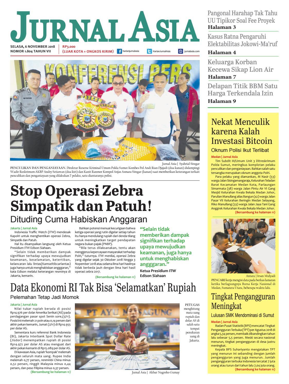 Harian Jurnal Asia Edisi Selasa 6 November 2018 By Harian Jurnal