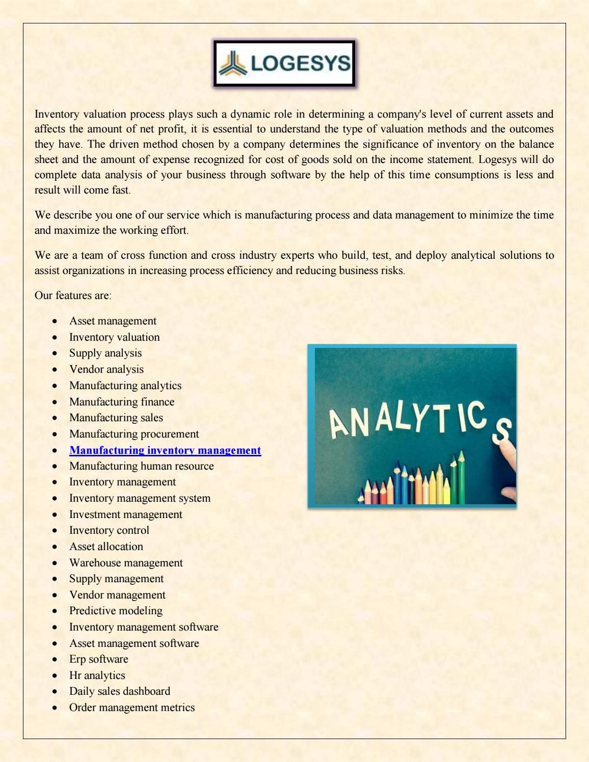 Manufacturing Inventory Management, Sales and Analytics Services by