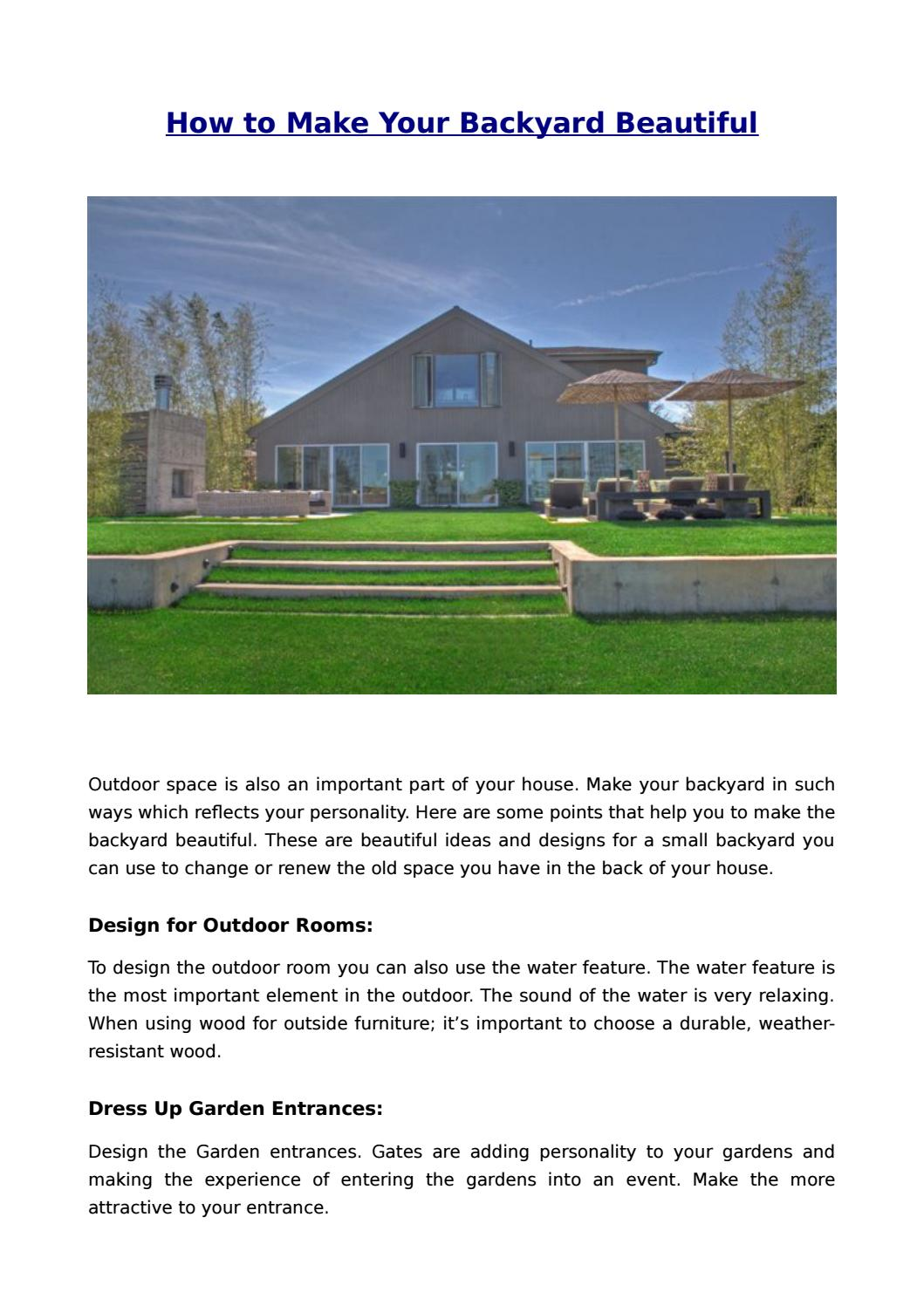 How To Make Your Backyard Beautiful By Alexim Builders Issuu