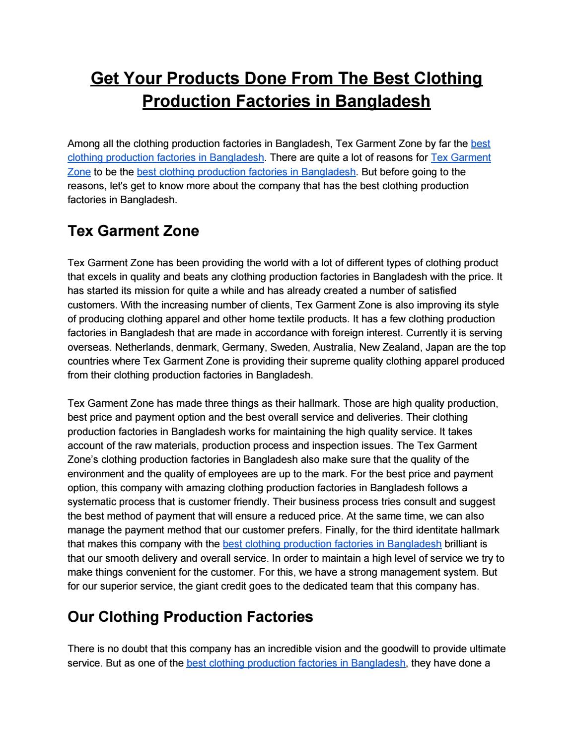 Get Your Products Done From The Best Clothing Production Factories