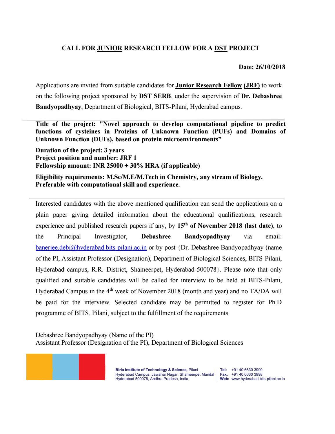 BITS PILANI Recruiting Msc /M Tech chemistry Junior Research Fellow