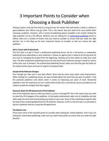 3 Important Points to Consider when Choosing a Book Publisher by