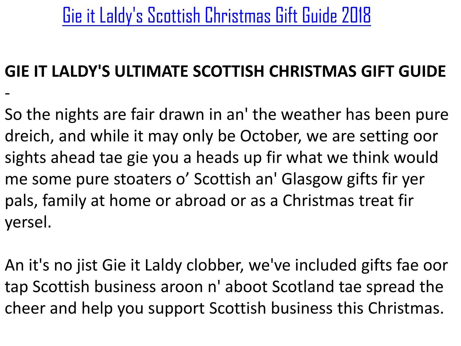 Gie it Laldy\'s Scottish Christmas Gift Guide 2018 by gieitlaldyshop ...