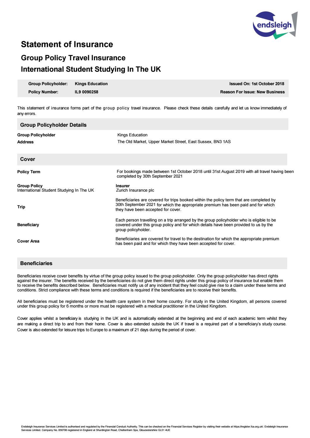 Kings UK Insurance Statement 2018-19 by Kings Education - issuu