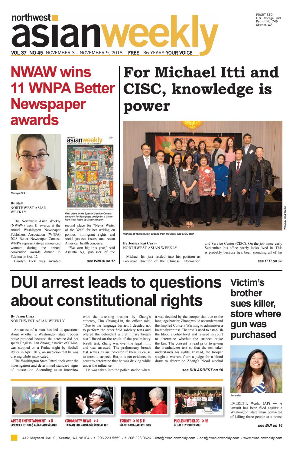 VOL 37 NO 45 | NOVEMBER 3 - NOVEMBER 9, 2018 by Northwest Asian Weekly -  issuu