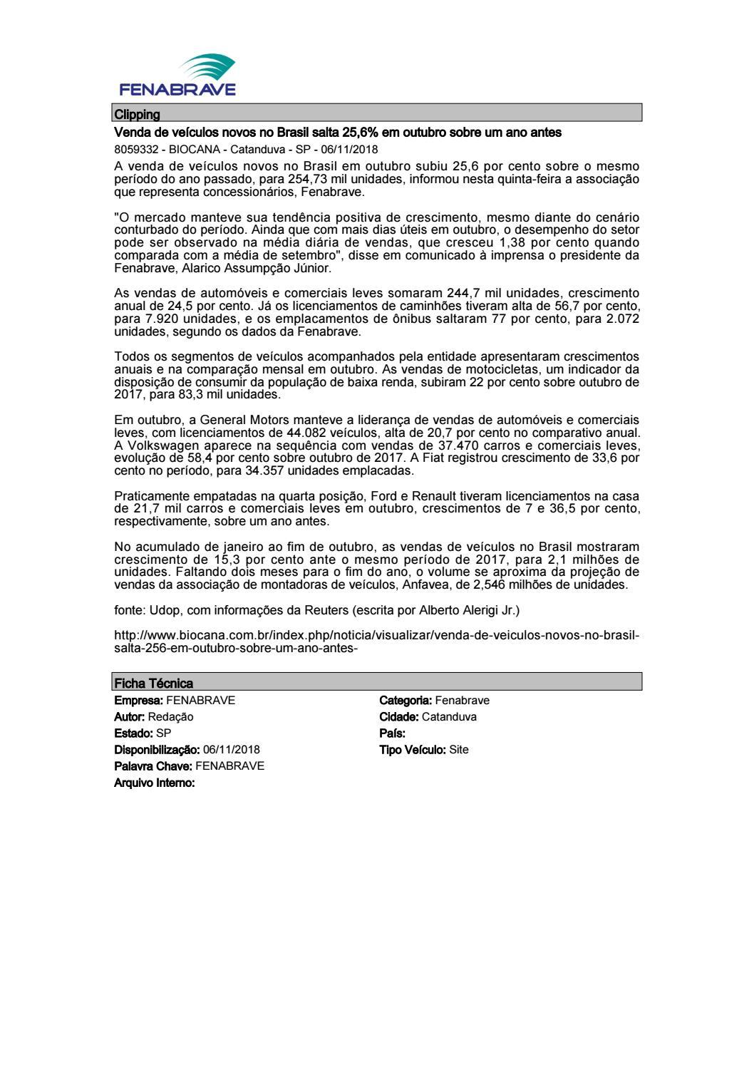 5874e2f7f Clipping Fenabrave - 06/11/18 by MCE Comunicação - issuu