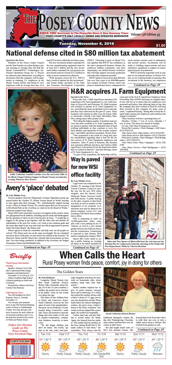 November 6, 2018 - The Posey County News by The Posey County News - issuu
