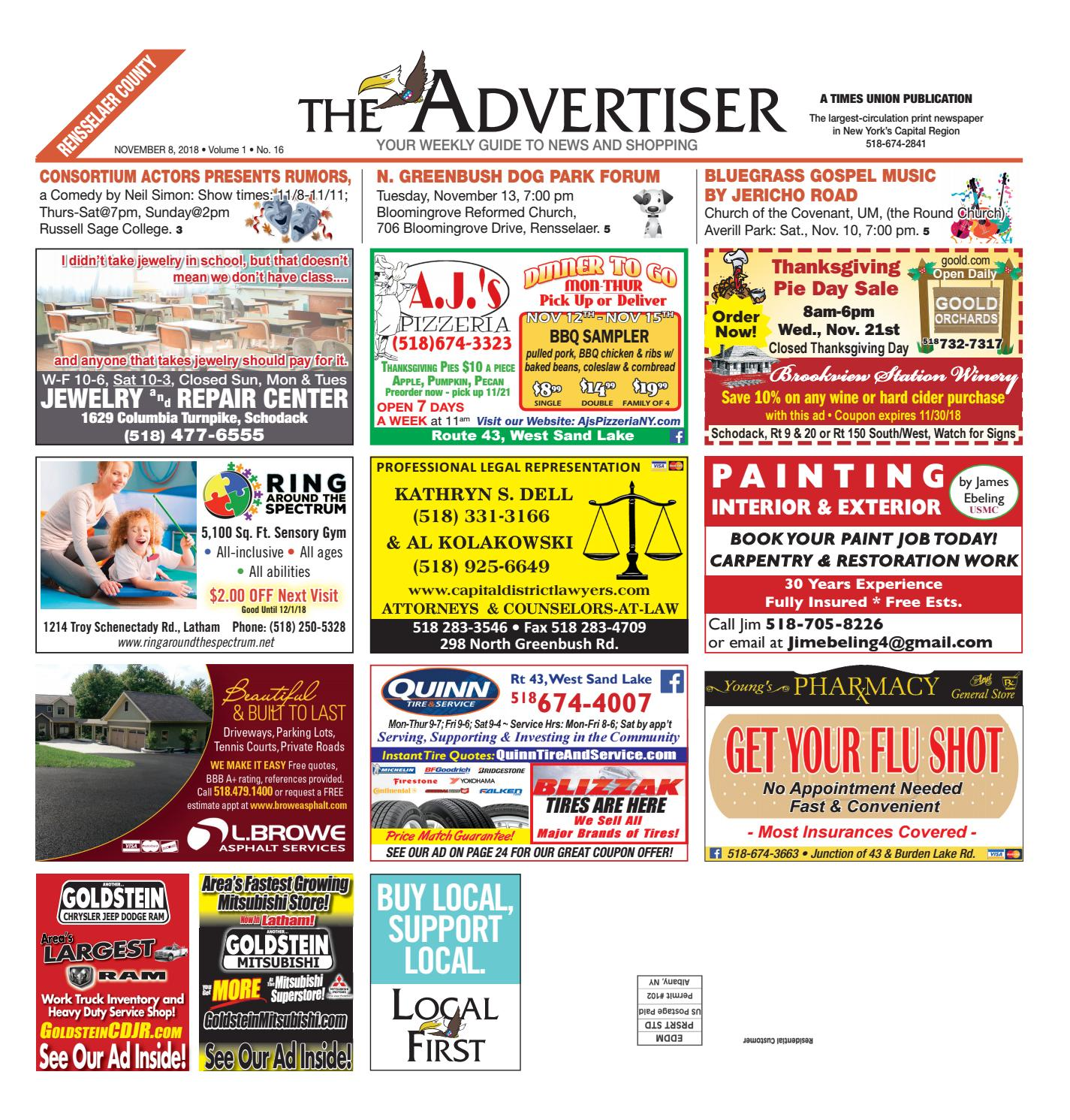 0336eb91018 Local First The Advertiser 110818 by Capital Region Weekly Newspapers -  issuu