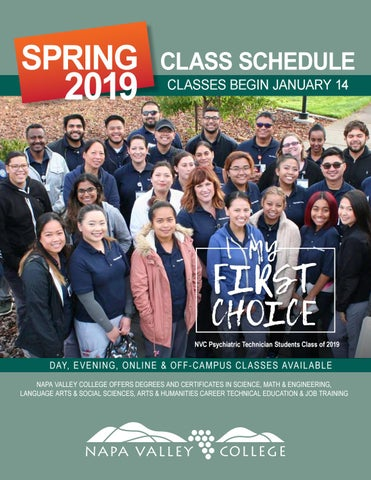 Spring 2019 Schedule of Classes by NapaValleyCollege - issuu