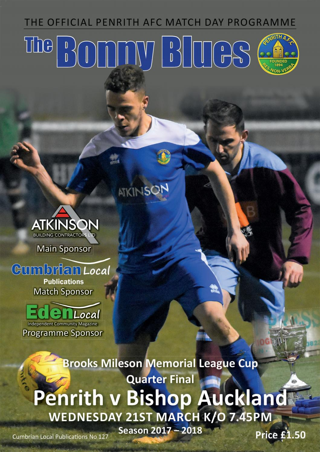 Penrith Afc V Bishop Auckland Match Day Programme Wednesday