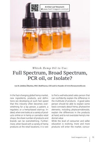 Page 73 of Which Hemp Oil to Use: Full Spectrum, Broad Spectrum,  PCR oil, or Isolate?