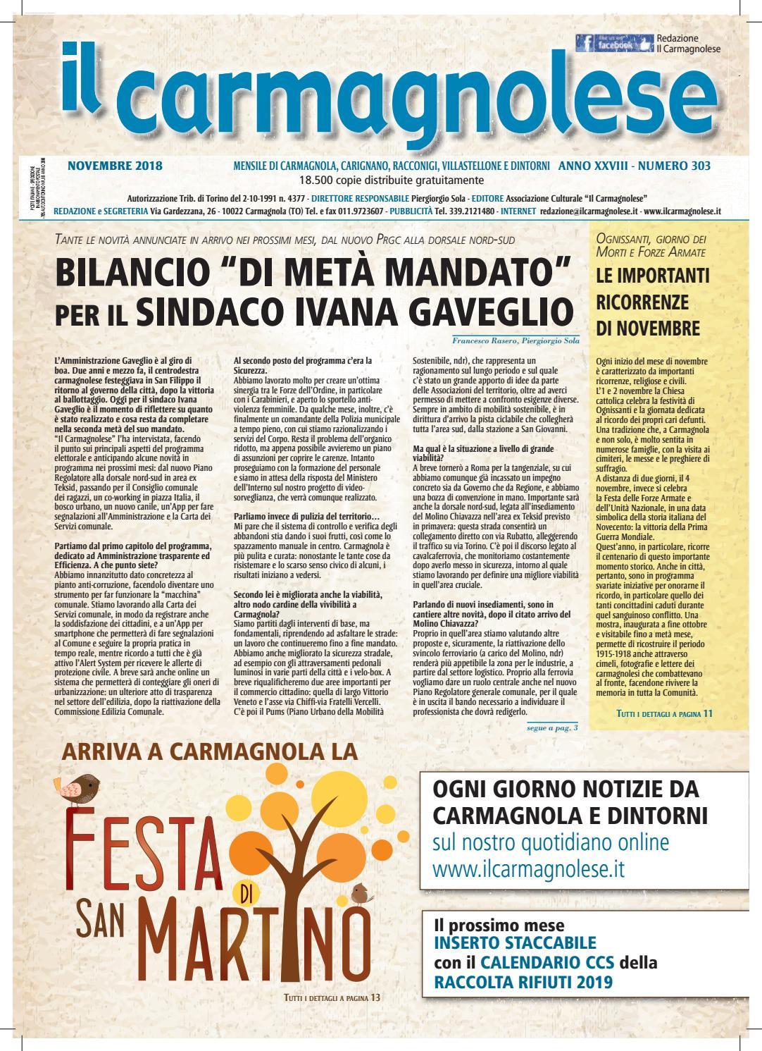 Calendario Raccolta Differenziata La Spezia 2020.Il Carmagnolese Novembre 2018 By Redazione Il Carmagnolese