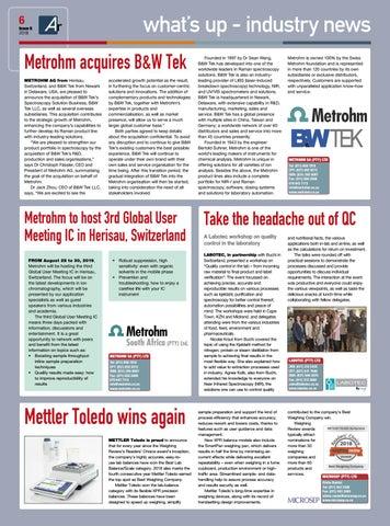 Page 6 of Metrohm acquires B&W Tek