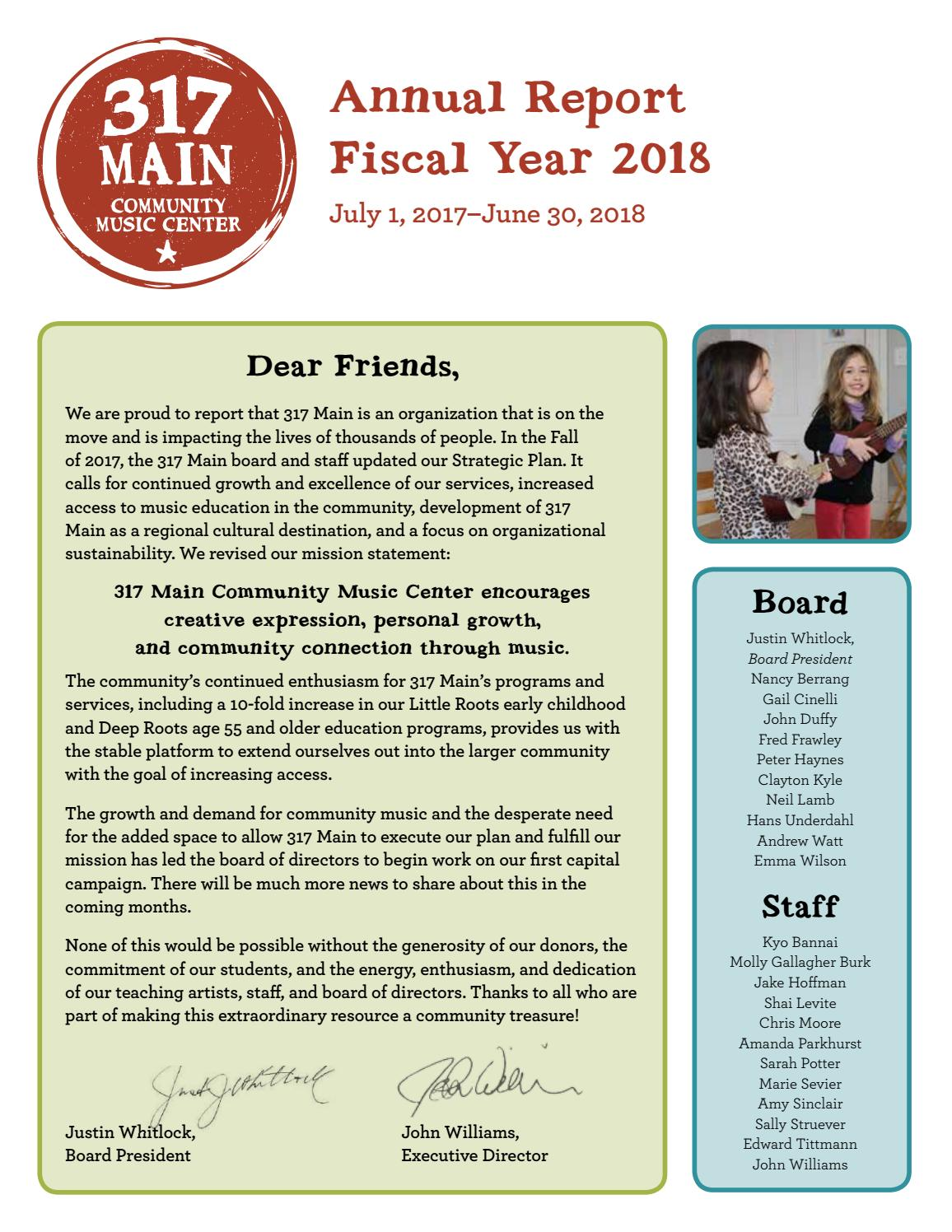 317 Main Annual Report Fiscal Year 2018 by 317main - issuu