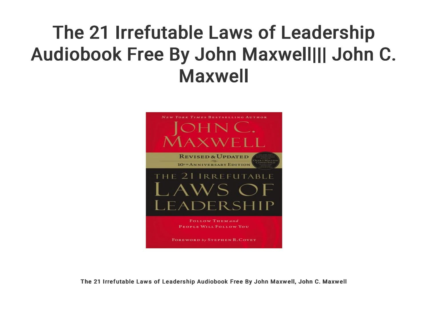 21 irrefutable laws of leadership audio free download