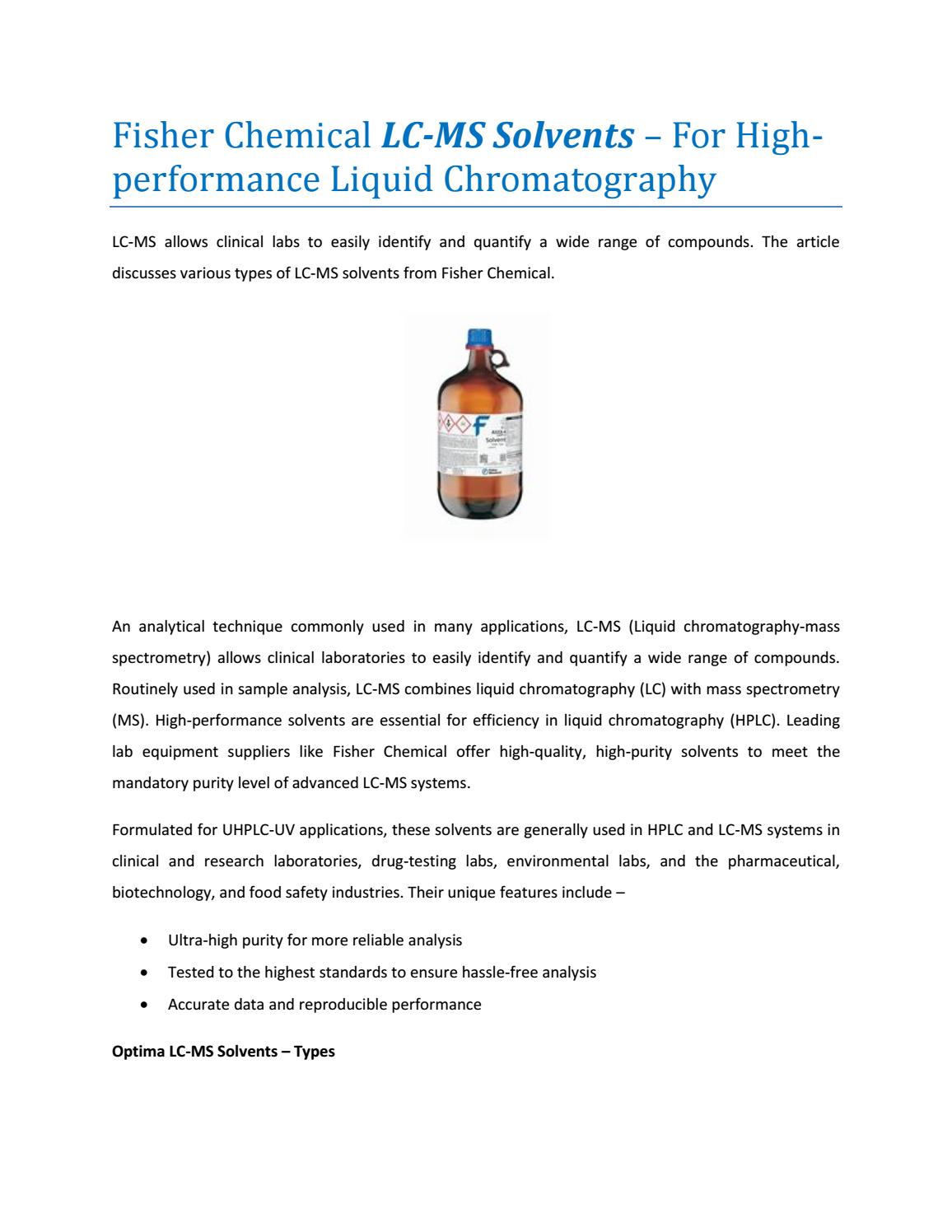 Liquid Chromatography In Clinical Analysis