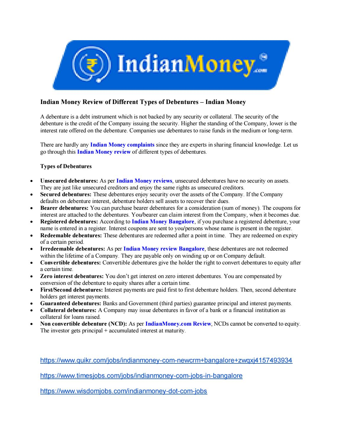 Indian Money Review of Different Types of Debentures – Indian Money