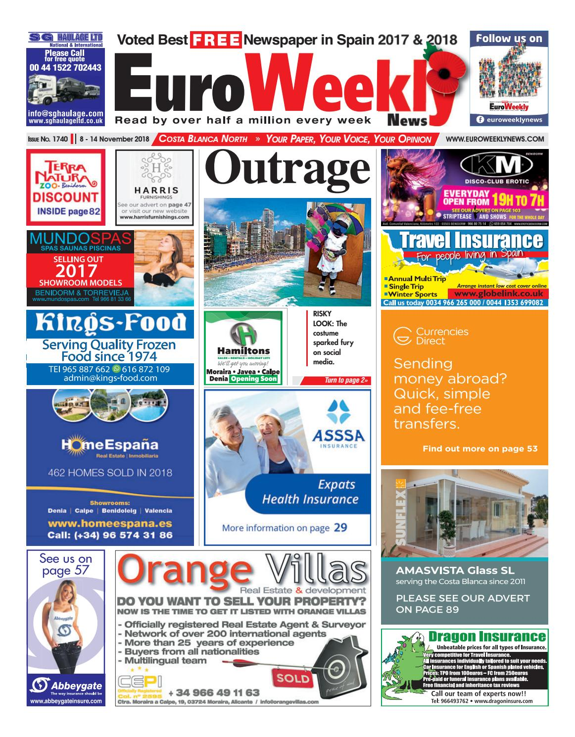 Euro Weekly News - Costa Blanca North November 8-14 2018 Issue 1740