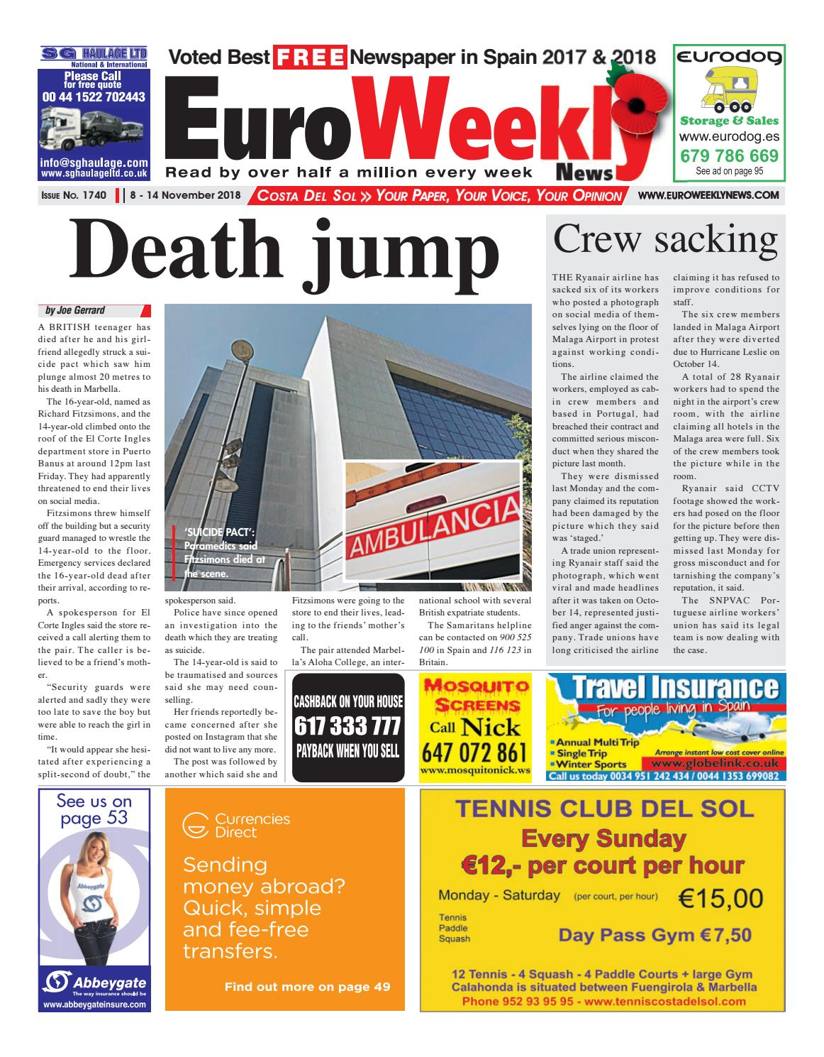 Euro Weekly News Costa Del Sol November 8 14 2018 Issue 1740 By
