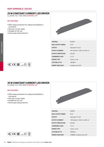 Page 18 of Linear non-dimmable constant current LED drivers