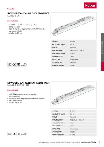 Page 19 of Linear non-dimmable constant current LED drivers