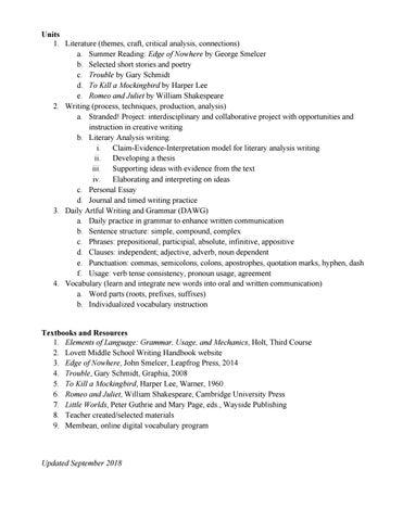Middle School English Curriculum By The Lovett School Issuu