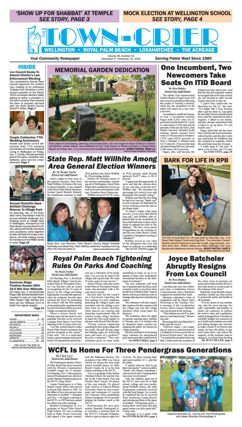 Town-Crier Newspaper November 9, 2018 by Wellington The Magazine LLC