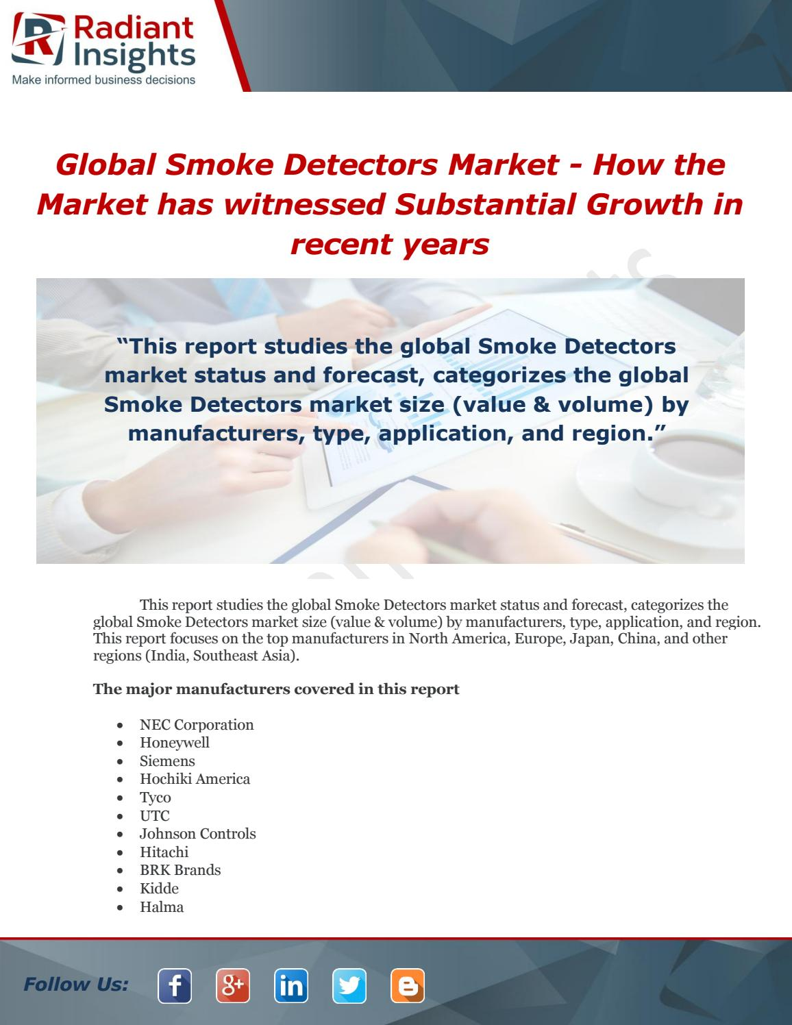Global Smoke Detectors Market How The Market Has Witnessed