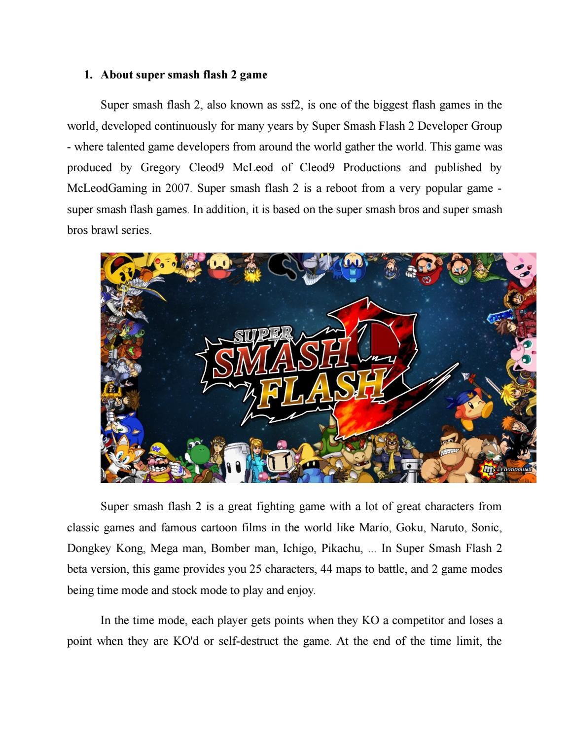 Detail information about game Super Smash Flash 2