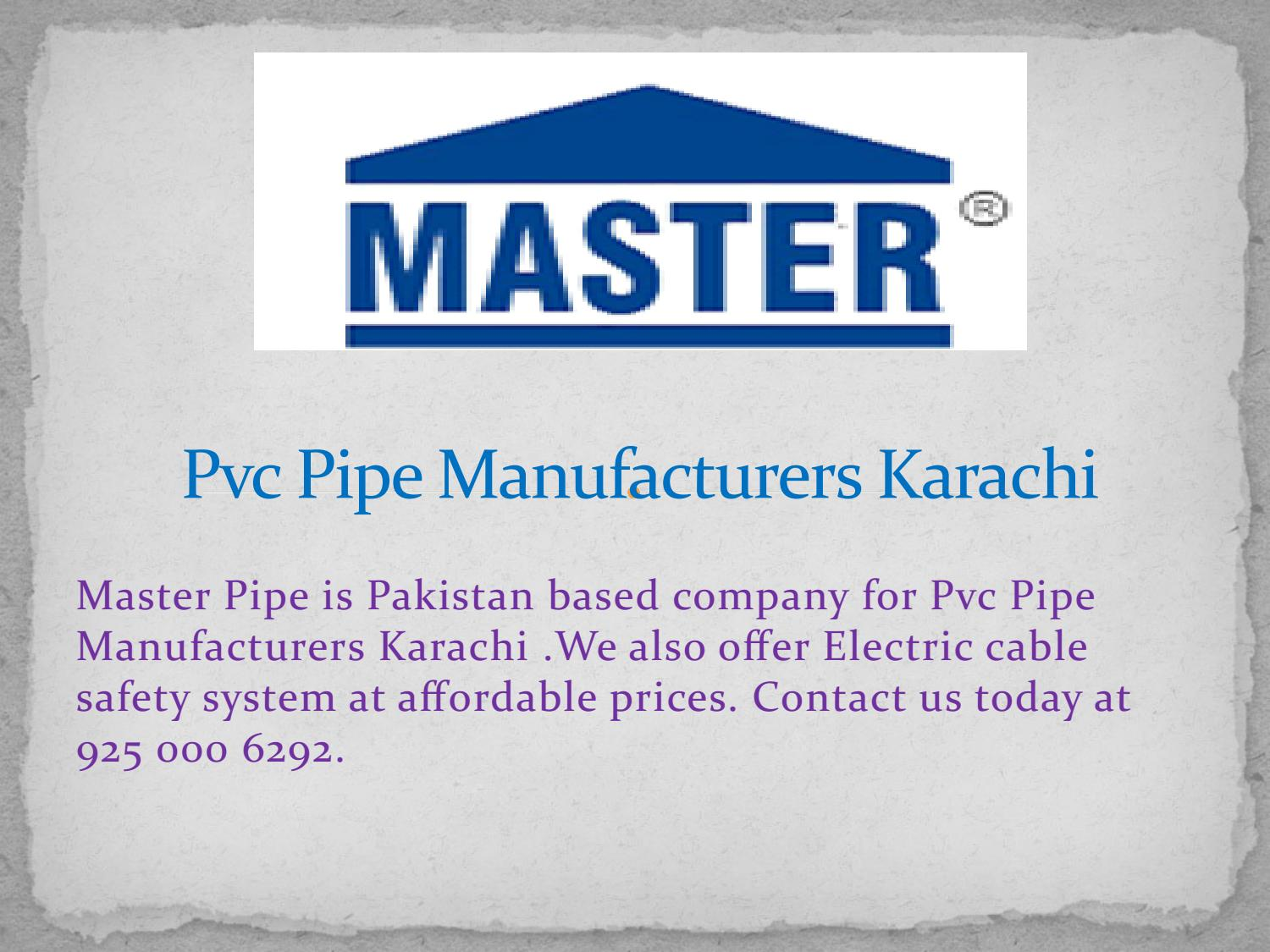 Pvc Pipe Manufacturers Karachi by Master Pipe - issuu