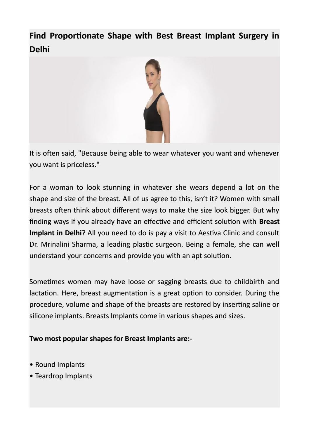 Contact Best Cosmetic Surgeon for Breast Implant Surgery in Delhi