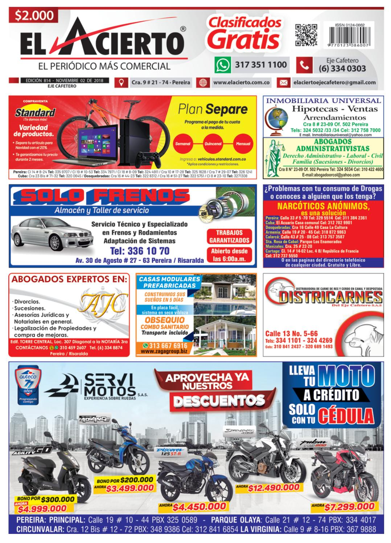 93ca6d61e Pereira 814 - 2 de Noviembre 2018 by El Acierto - issuu
