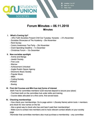 November Forum Minutes by ARU Students' Union - issuu