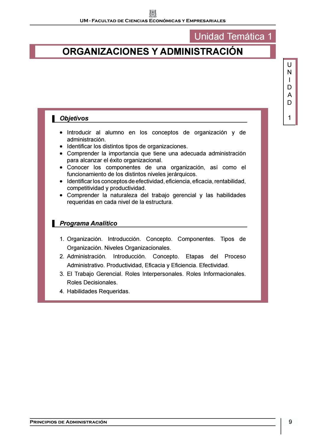 Unidad 1 Pirncipios De Administración By Faceeum Issuu