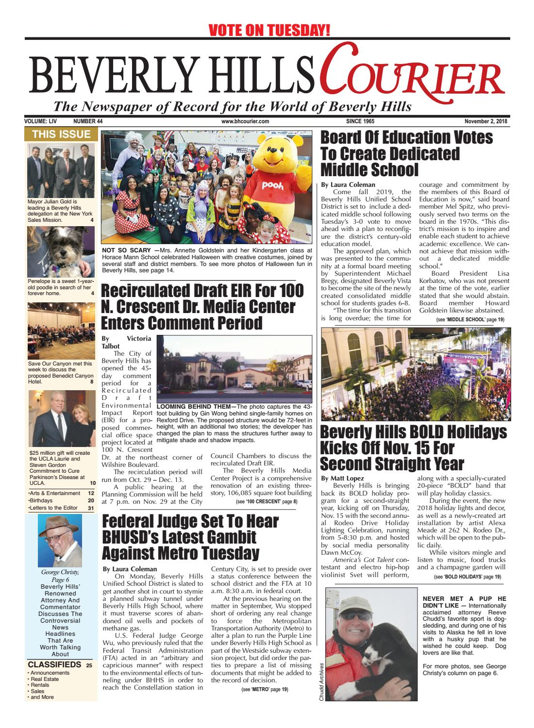 68936ecd005 BHCourier E-edition 110218 by The Beverly Hills Courier - issuu