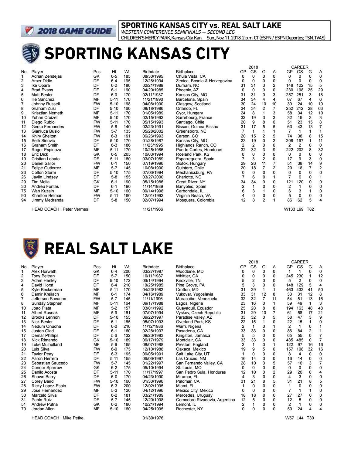 Playoff Game Notes: Sporting KC vs  Real Salt Lake   Nov  11