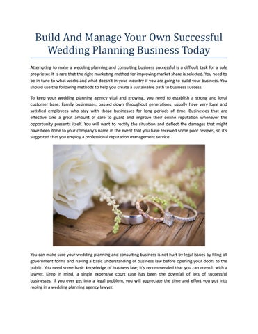 How to start a successful wedding planning business