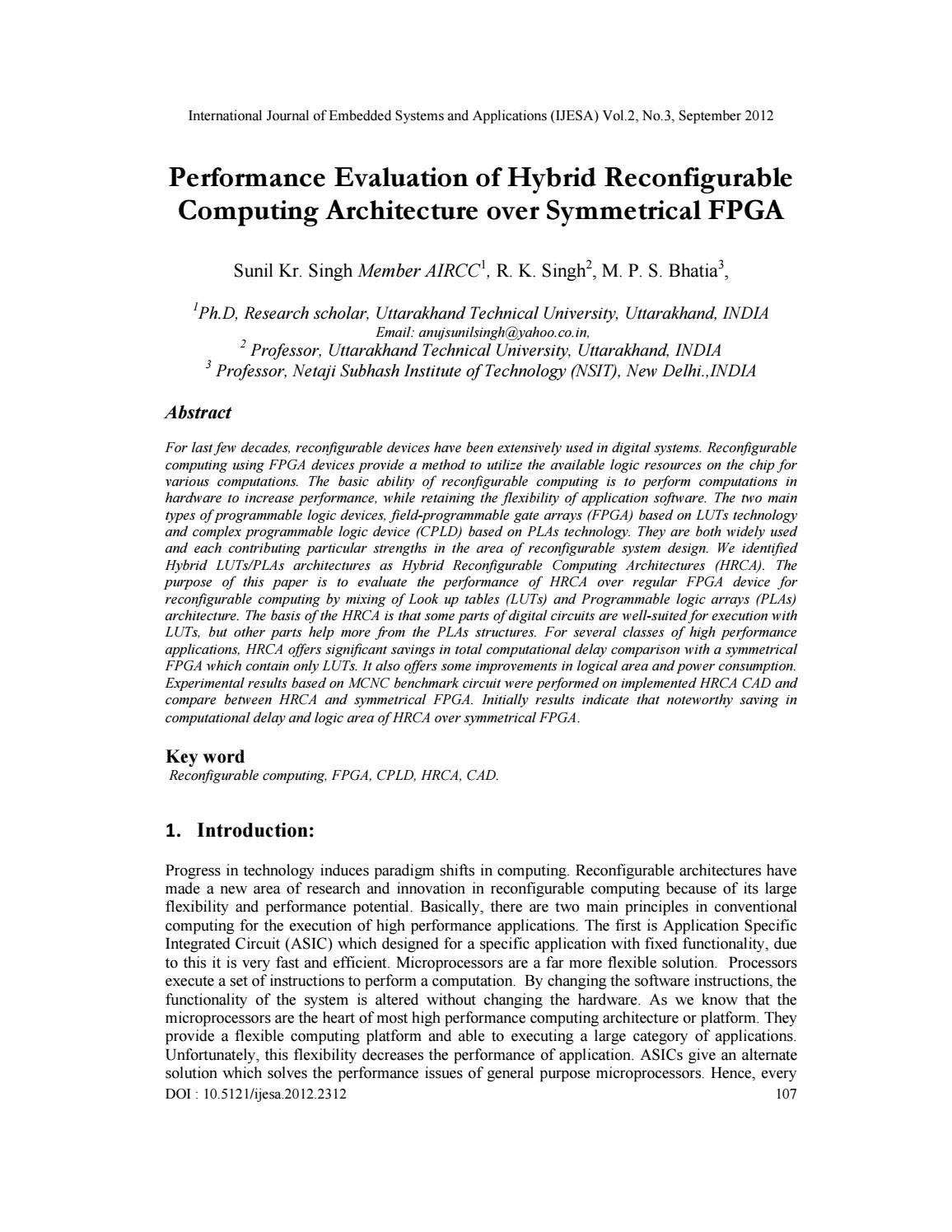 Performance Evaluation Of Hybrid Reconfigurable Computing Architecture Over Symmetrical Fpga By Ijesa Journal Issuu