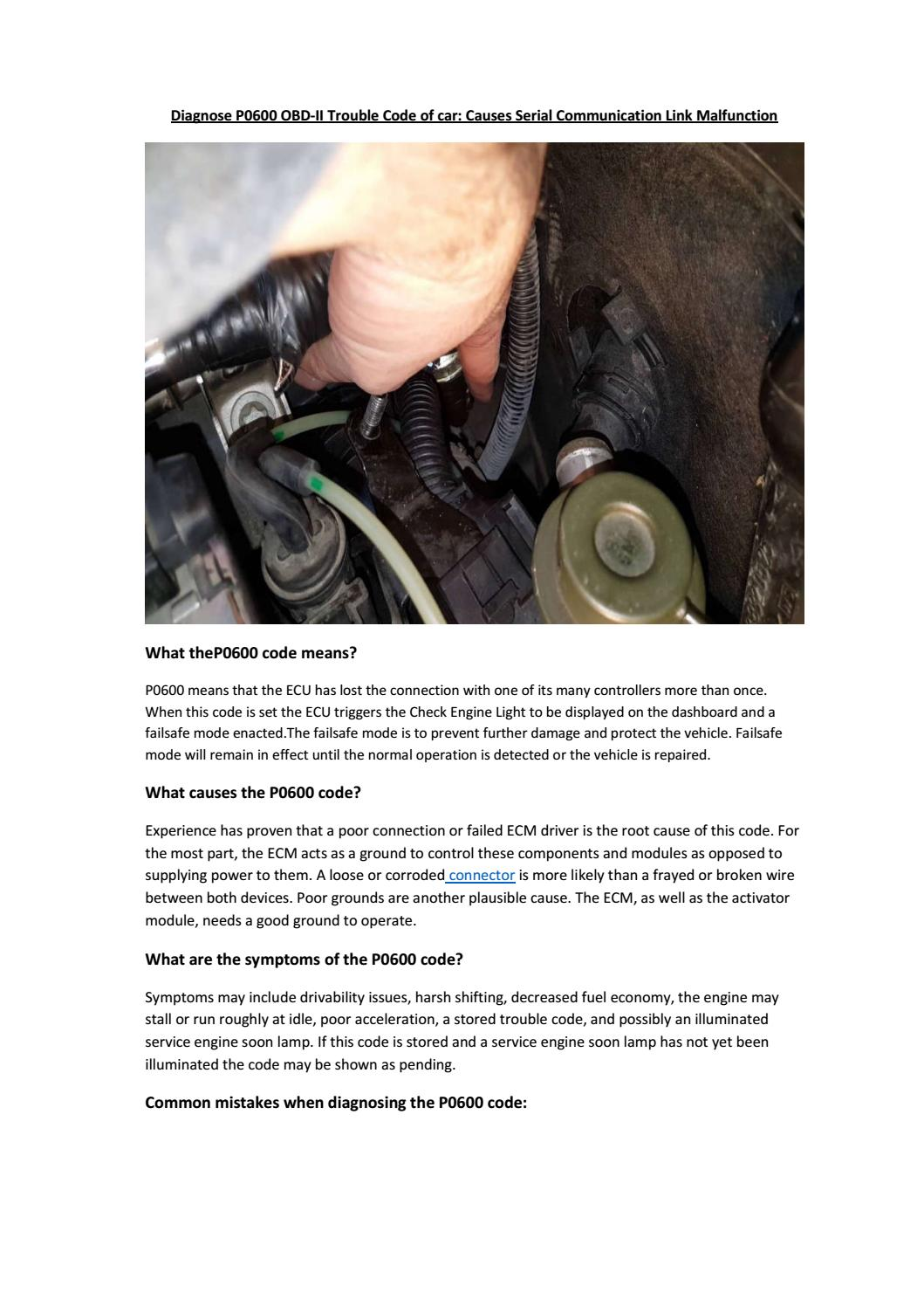 Partsavatar Canada Diagnose P0600 Obd Ii Trouble Code Of Car Causes Serial Communication Link By Issuu