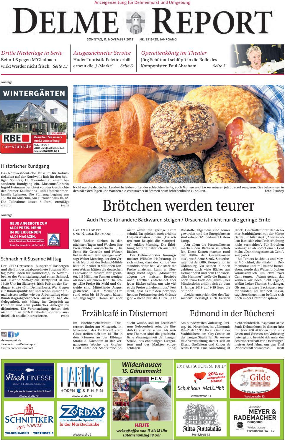 Delme Report vom 11.11.2018 by KPS Verlagsgesellschaft mbH - issuu