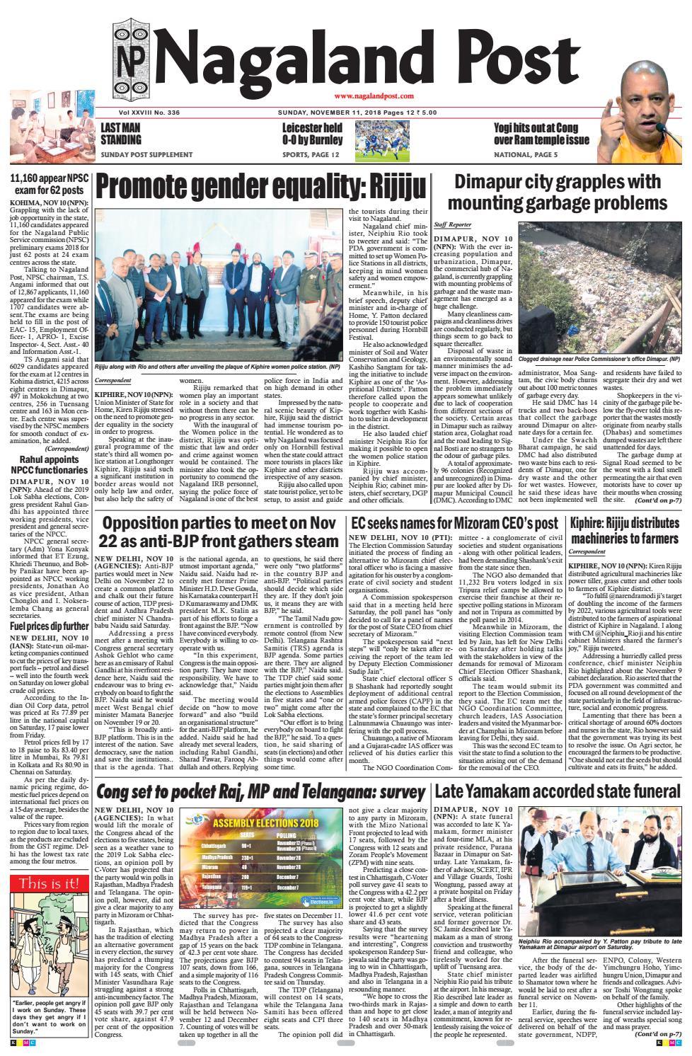 November 11, 2018 by Nagaland Post - issuu