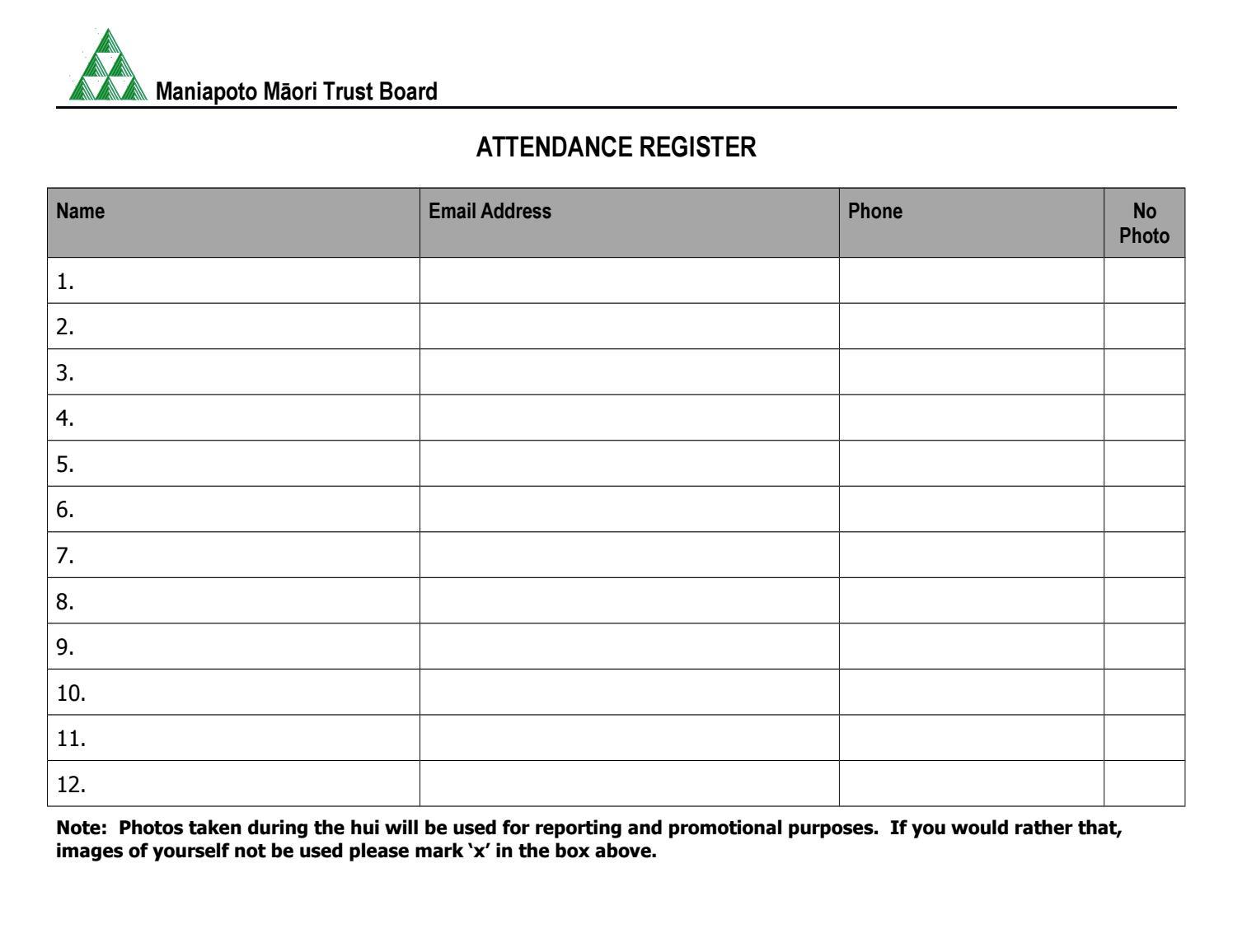 mmtb attendance register template by maniapoto m u0101ori trust board