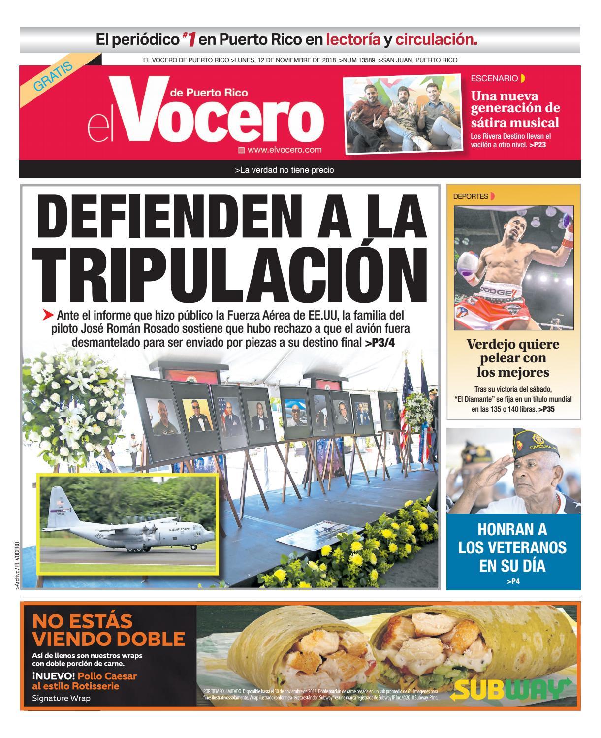 d54a5c5f25488 Edición del 12 de noviembre de 2018 by El Vocero de Puerto Rico - issuu