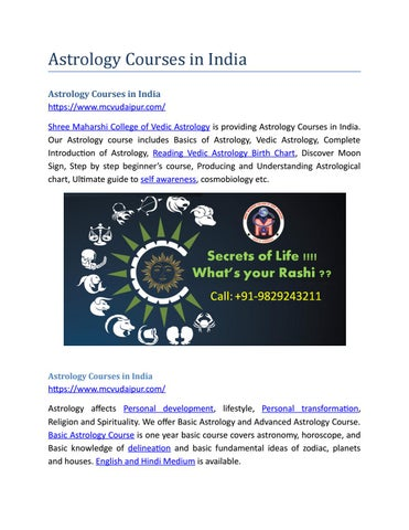 Astrology Courses In India By Shree Maharshi Issuu