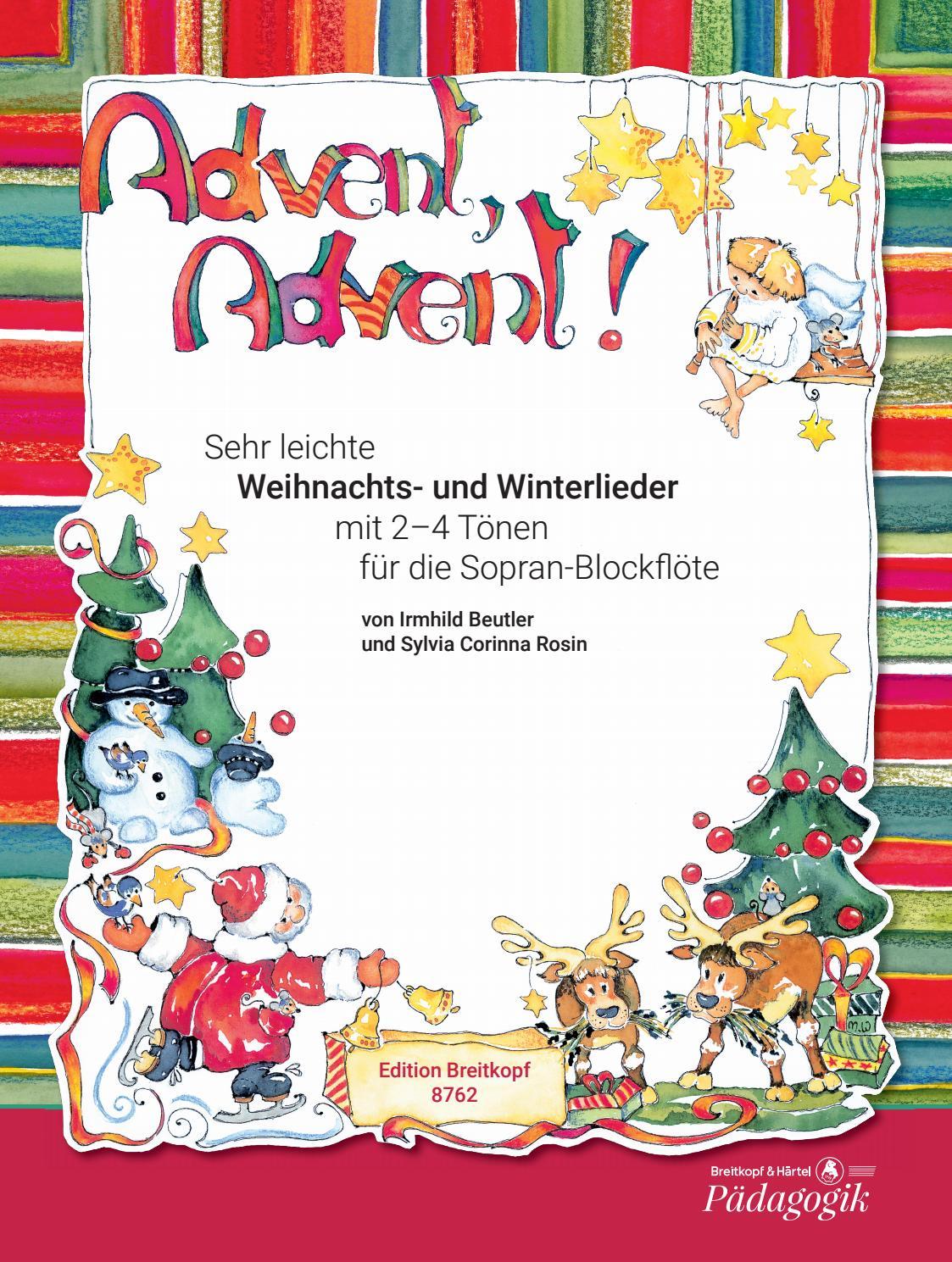 Weihnachts- und Winterlieder für die Blockflöte (German Edition)