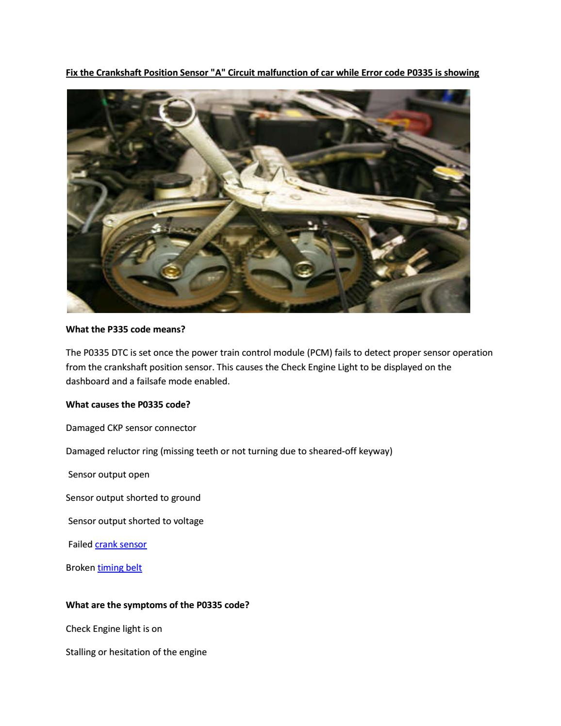 Partsavatar Car Parts Toronto Fix The Crankshaft Position Sensor A Timing Belt Circuit Malfunction Of By Tr Issuu