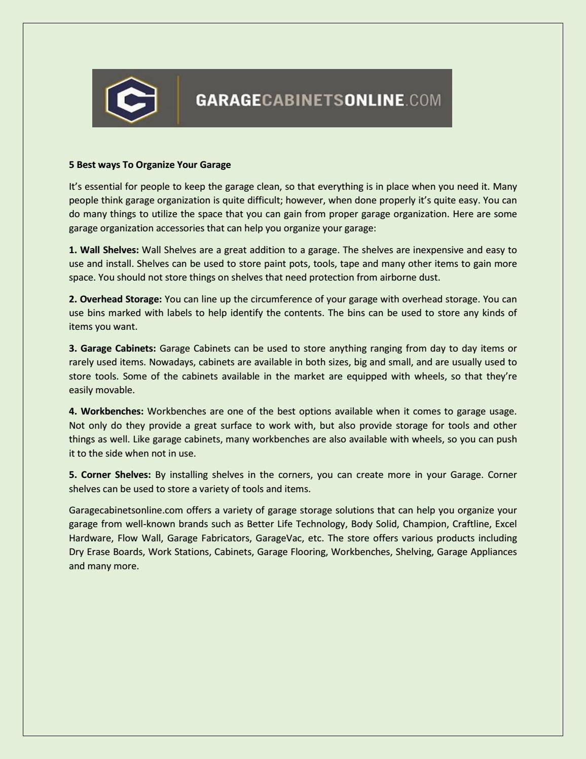 Awe Inspiring 5 Best Ways To Organize Your Garage By Garagecabinetsvideos Ocoug Best Dining Table And Chair Ideas Images Ocougorg