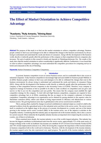The Effect of Market Orientation to Achieve Competitive Advantage by