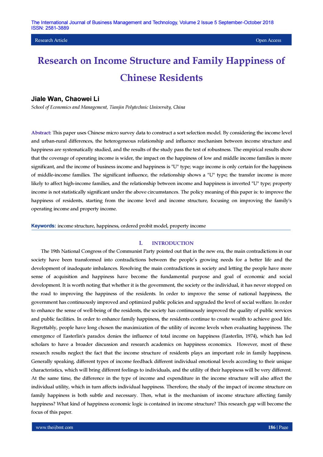 Research on Income Structure and Family Happiness of Chinese Residents